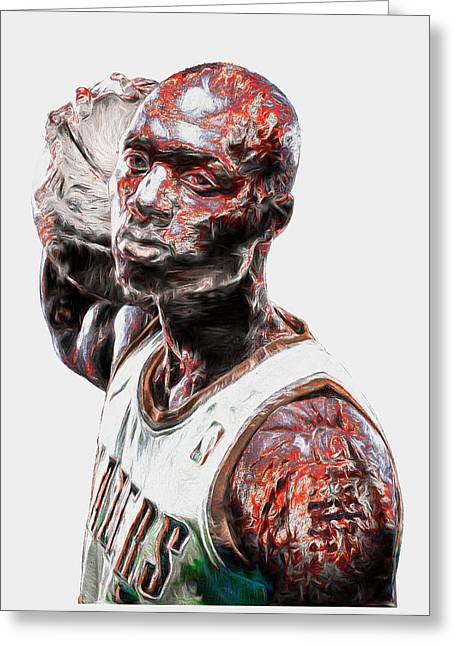 Damian Lillard Portland Trailblazers Digital Painting 25 Greeting Card by David Haskett