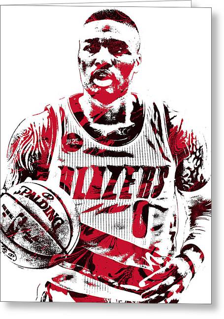Damian Lillard Portland Trailblazers Pixel Art Greeting Card by Joe Hamilton