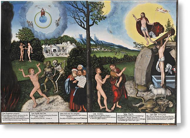 Damnation And Redemption. Law And Grace Greeting Card by Lucas Cranach the Elder