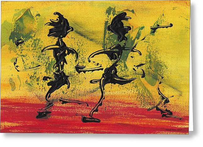 Dance Art Dancing Couple Viii Greeting Card by Manuel Sueess