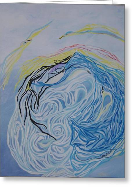 Greeting Card featuring the painting Dance In The Wave by Sima Amid Wewetzer