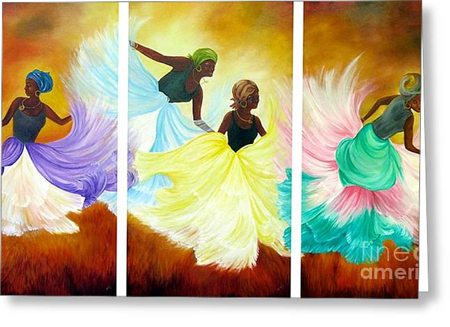 Greeting Card featuring the painting Dance Of Flames by Anna-maria Dickinson