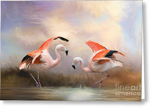 Greeting Card featuring the photograph Dance Of The Flamingos  by Bonnie Barry