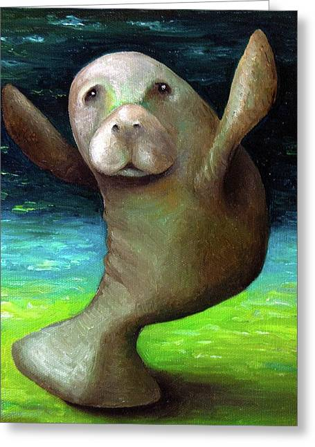 Tropical Oceans Greeting Cards - Dance of the Manatee Greeting Card by Leah Saulnier The Painting Maniac
