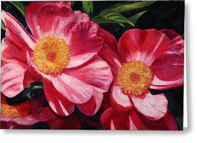 Dance Of The Peonies Greeting Card
