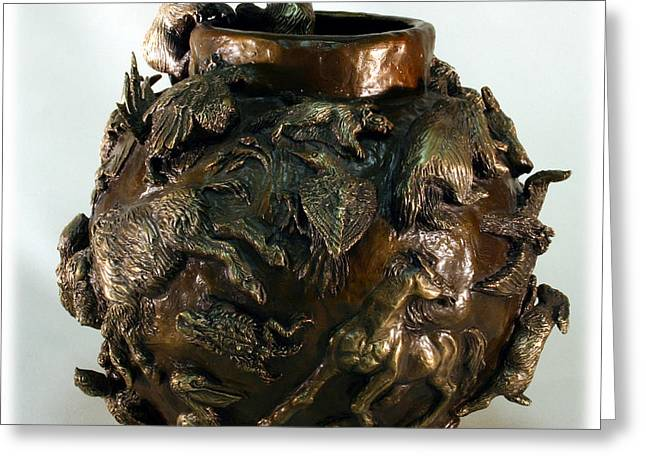 Greeting Card featuring the sculpture Dance Of The Seasons - Bronze Bowl With Bear Cubs by Dawn Senior-Trask