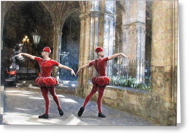 Dance Of The Swiss Guard Greeting Card by Joaquin Abella