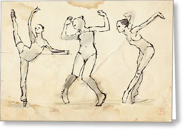 Dance Studies Greeting Card by H James Hoff