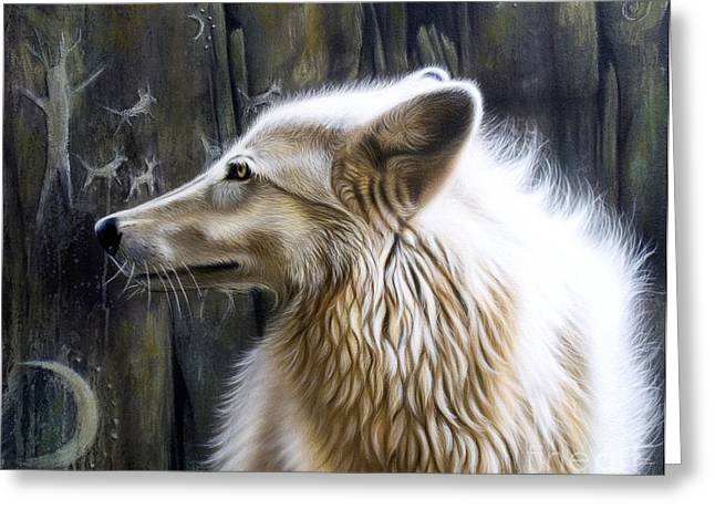 Wolf Song Studio Greeting Cards - Dance -The Moon Greeting Card by Sandi Baker