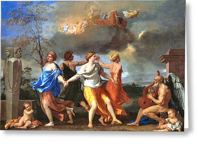 Dance To The Music Of Time  Greeting Card by Nicolas Poussin