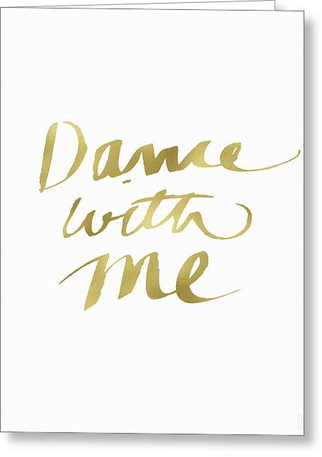 Dance With Me Gold- Art By Linda Woods Greeting Card by Linda Woods