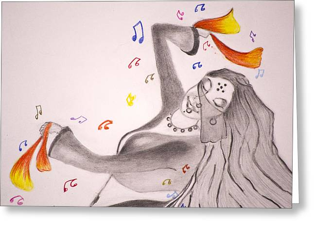 Dance With Veil II Greeting Card by Jalal Gilani