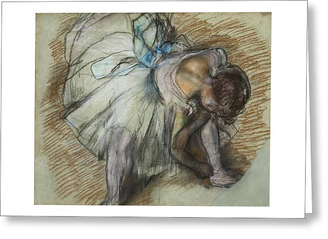 Dancer Adjusting Her Shoe Greeting Card by Edgar Degas