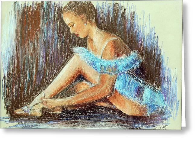 Dancer Adjusting Her Slipper Greeting Card by Marina Garrison