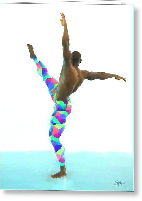 Dancer Colorful Greeting Card by Quim Abella