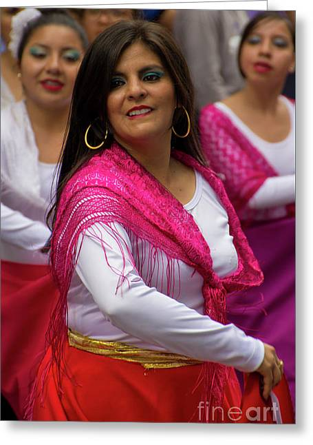 Dancer In The Pase Del Nino Parade II Greeting Card by Al Bourassa