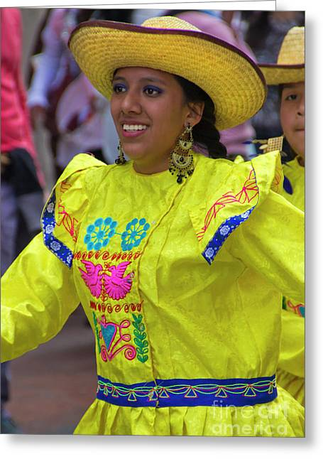 Dancer In The Pase Del Nino Parade Iv Greeting Card by Al Bourassa