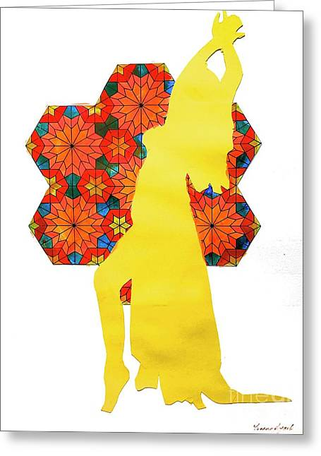 Dancer In Yellow Greeting Card