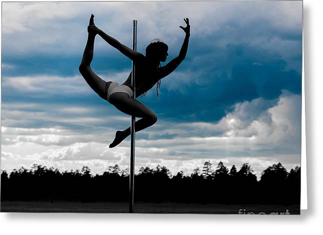Dancer On A Pole In Storm Greeting Card by Scott Sawyer