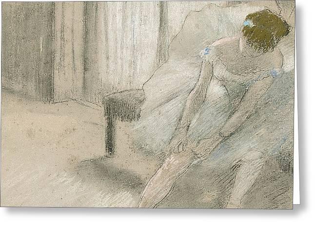 Dancer Seated, Readjusting Her Stocking Greeting Card by Edgar Degas