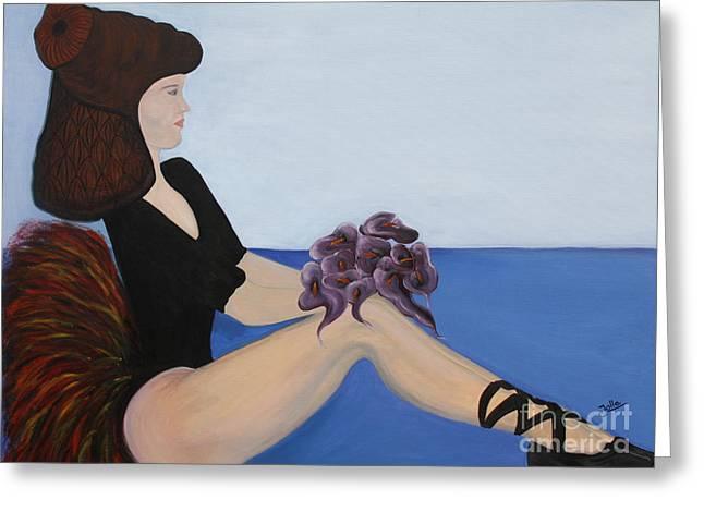 Greeting Card featuring the painting Dancer With Calla Lillies by Jolanta Anna Karolska