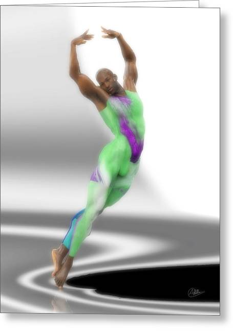 Dancer With Green Leotard Greeting Card by Joaquin Abella