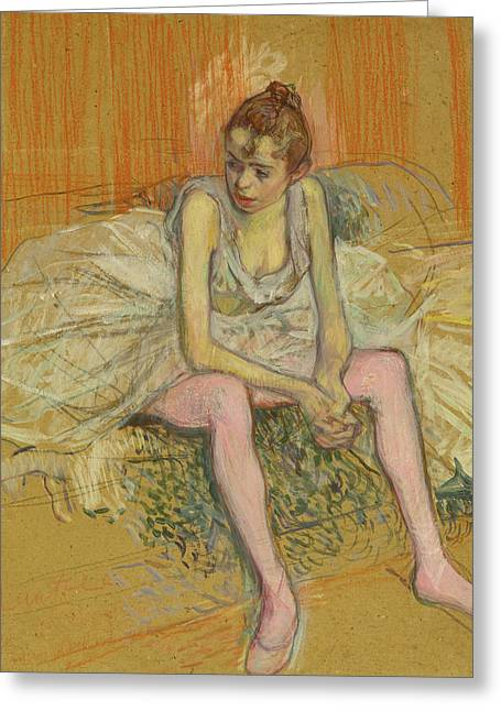 Dancer With Pink Stockings Greeting Card by Henri de Toulouse-Lautrec