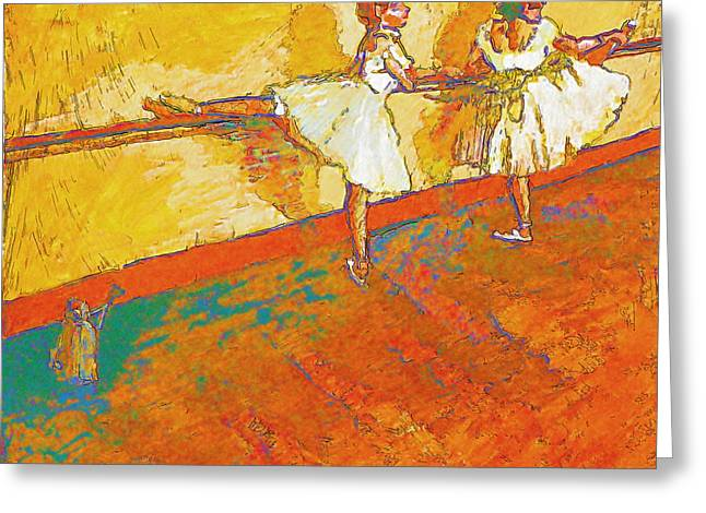 Ballet Bar Greeting Cards - Dancers at the Bar after Degas Greeting Card by Robert Bissett