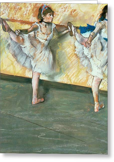 Figures Pastels Greeting Cards - Dancers at the bar Greeting Card by Edgar Degas