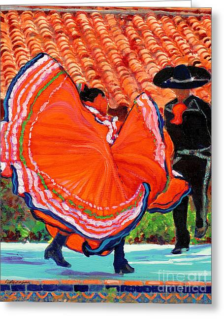 Dancers In Old Town San Diego California Greeting Card by RD Riccoboni