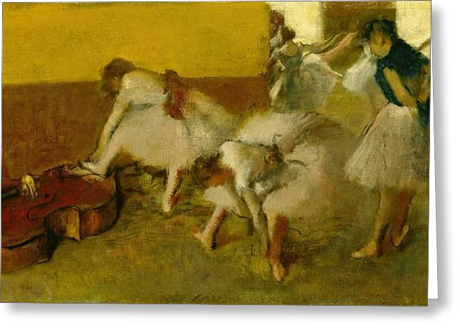 1834 Greeting Cards - Dancers in the Green Room Greeting Card by Edgar Degas