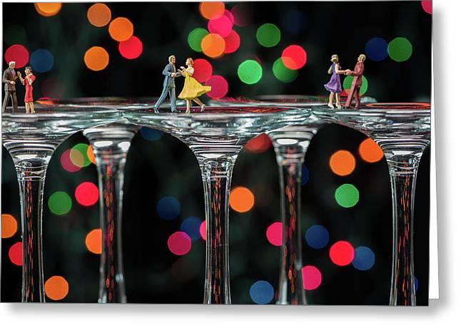 Dancers On Wine Glasses Greeting Card