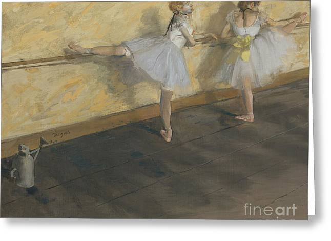 Dancers Practising At The Barre, 1877 Greeting Card by Edgar Degas