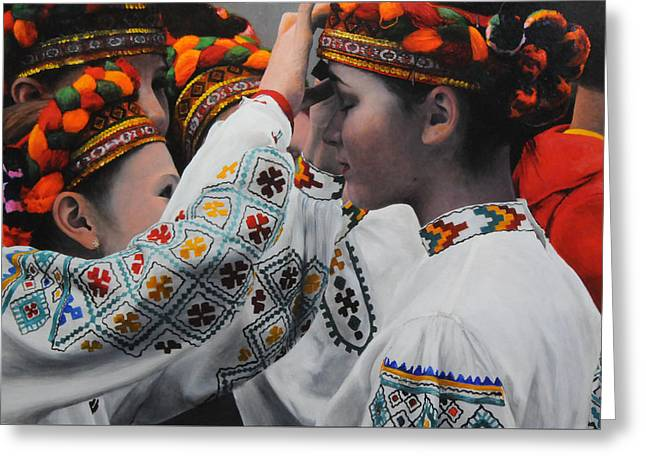 Dancers Preparing Greeting Card
