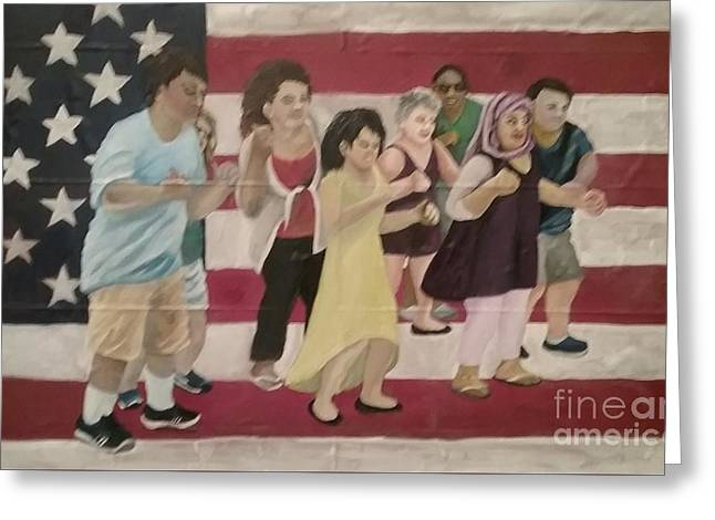 Dancing Americans Greeting Card by Saundra Johnson
