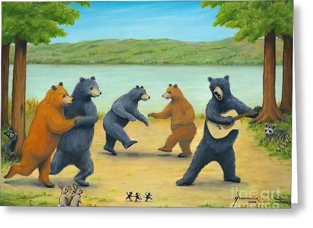 Dancing Bears Greeting Card by Jerome Stumphauzer