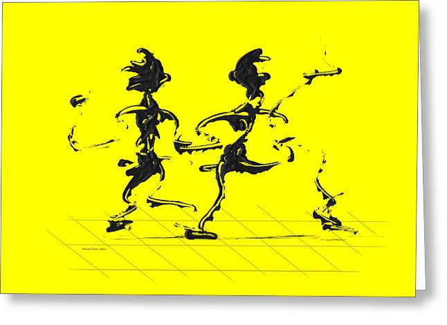 Dancing Couple 3 - Yellow Greeting Card by Manuel Sueess