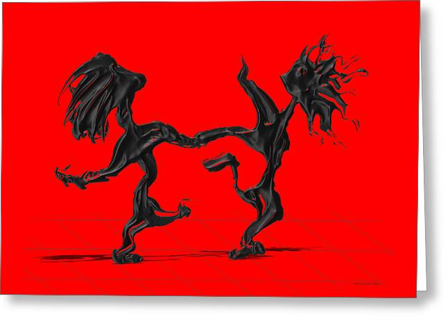 Dancing Couple 8 - Red Greeting Card