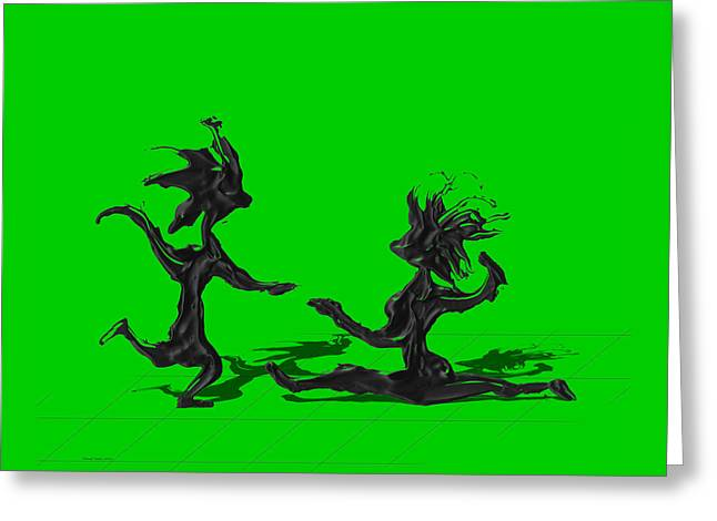 Dancing Couple 9 - Green Greeting Card by Manuel Sueess