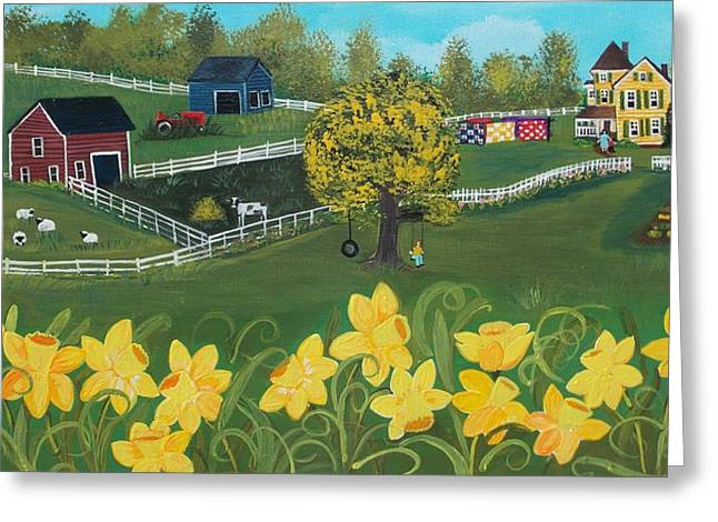 Greeting Card featuring the painting Dancing Daffodils by Virginia Coyle