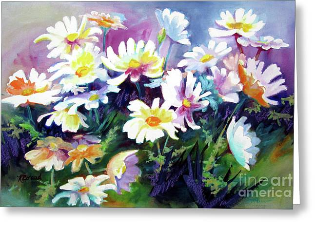 Greeting Card featuring the painting Dancing Daisies by Kathy Braud