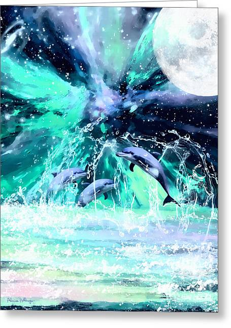 Dancing Dolphins Under The Moon Greeting Card