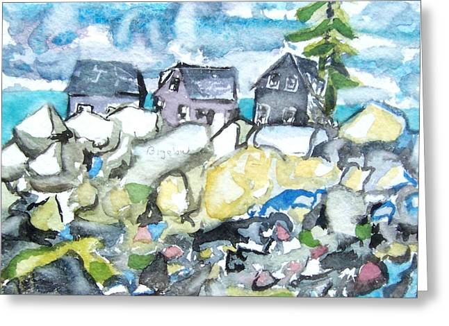 Dancing Fish Houses Greeting Card by Patricia Bigelow