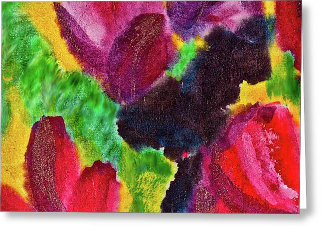Greeting Card featuring the painting Dancing Flowers by Joan Reese