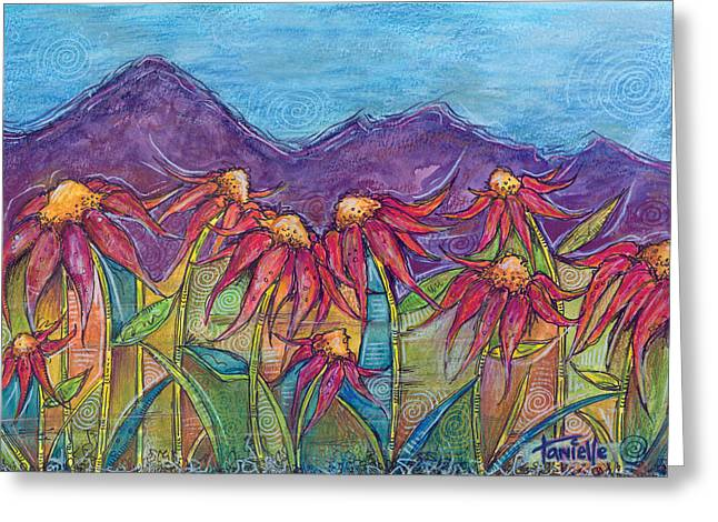 Dancing Petals Greeting Cards - Dancing Flowers Greeting Card by Tanielle Childers