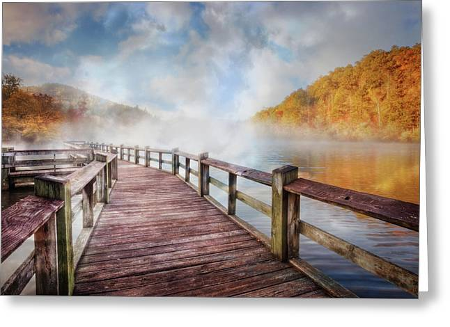 Greeting Card featuring the photograph Dancing Fog At The Lake by Debra and Dave Vanderlaan