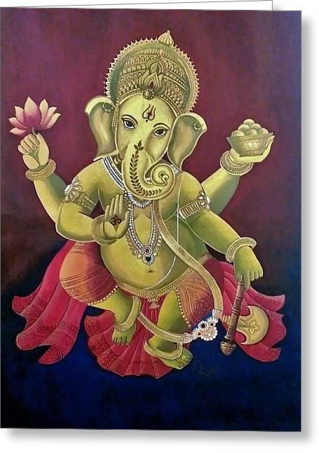 Dancing Ganesha Greeting Card by Rupa Prakash