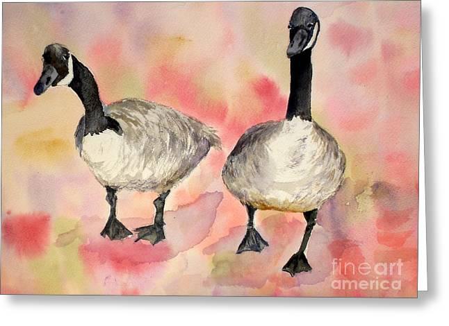 Dancing Geese Greeting Card