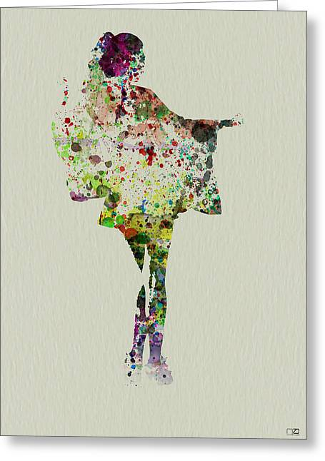 Geisha Greeting Cards - Dancing Geisha Greeting Card by Naxart Studio