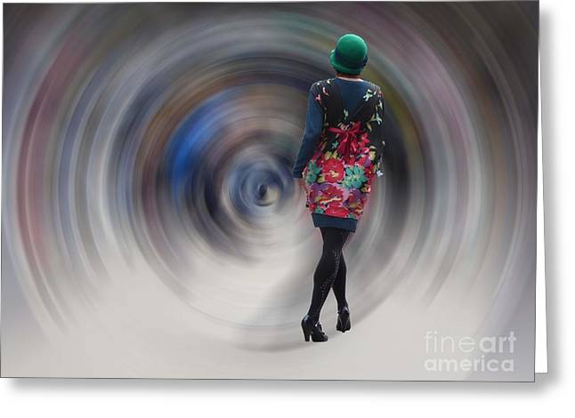 Girl In The Vortex Greeting Card by Chris Evans